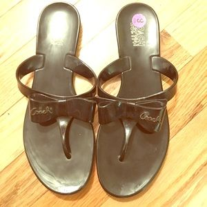 Coach Bow Jelly Thong Flip Flops